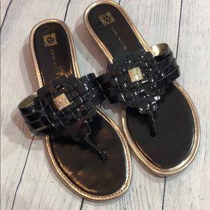 Anne Klein Weaved Gold Black Thong iFlex Sandals